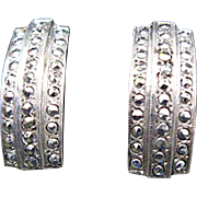 Art Deco Design Sterling and Marcasite Screwback Earrings