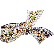 Elegant Vintage Rhinestone Edged Bow Brooch