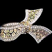 Elegant Vintage Rhinestone Edged Bow Brooch