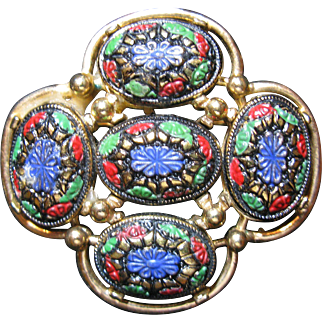 Sarah Coventry Light of the East Enameled Brooch
