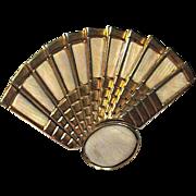 Italy Fan Brooch with Trombone Clasp