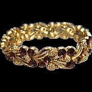 Classy Textured Trifari Topaz Rhinestone Bracelet