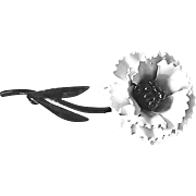 Vintage Black and White Enamel Flower Brooch
