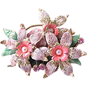 Vintage Made in Austria Painted and Imitation Pearl Flower Brooch