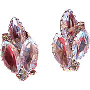 Vintage Clear Glass Navette Clip Earrings