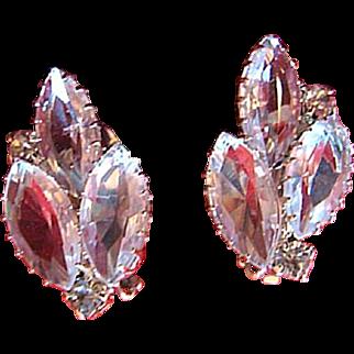 Vintage Clear Glass Navette Clip Earrings