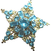 Aqua Star and Leaves Brooch or Pendant