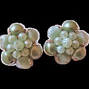 Vintage Western Germany Pale Green Bead Earrings
