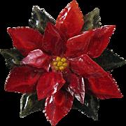 Resin Poinsettia Brooch Pin