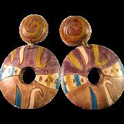 Inlaid and Handpainted Teak Wood Pierced Earrings