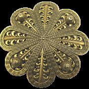 Large Decorative Vintage Freirich Stamped Brass Brooch
