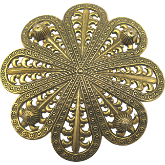 Large Decorative Vintage Freirich Stamped Brass Brooch