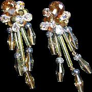 Topaz and Clear Rhinestone Drop Earrings