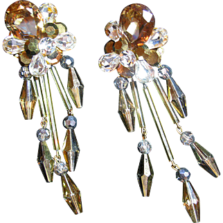 Topaz and Clear Rhinestone Drop Earrings