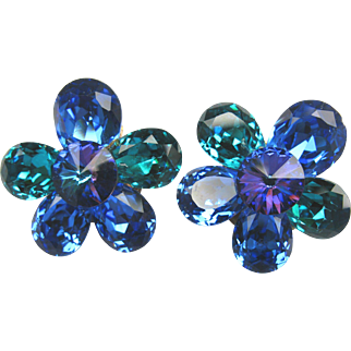 Bold Blue Green Purple Rhinestone Clip Earrings