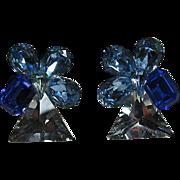 Chunky Blue Rhinestone Clip Earrings
