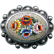 Italy Mosaic Brooch with Silvertone Metal Frame