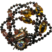 Gorgeous Multi-Strand Beaded Bracelet Brass Clasp