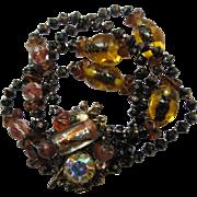 Gorgeous Multi-Strand Beaded Bracelet Brass Clasp