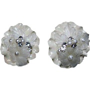 Iridescent Porcelain and Lucite Clip Earrings Shafer