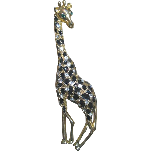 Vintage Elegant Enamel and Rhinestone Giraffe Brooch