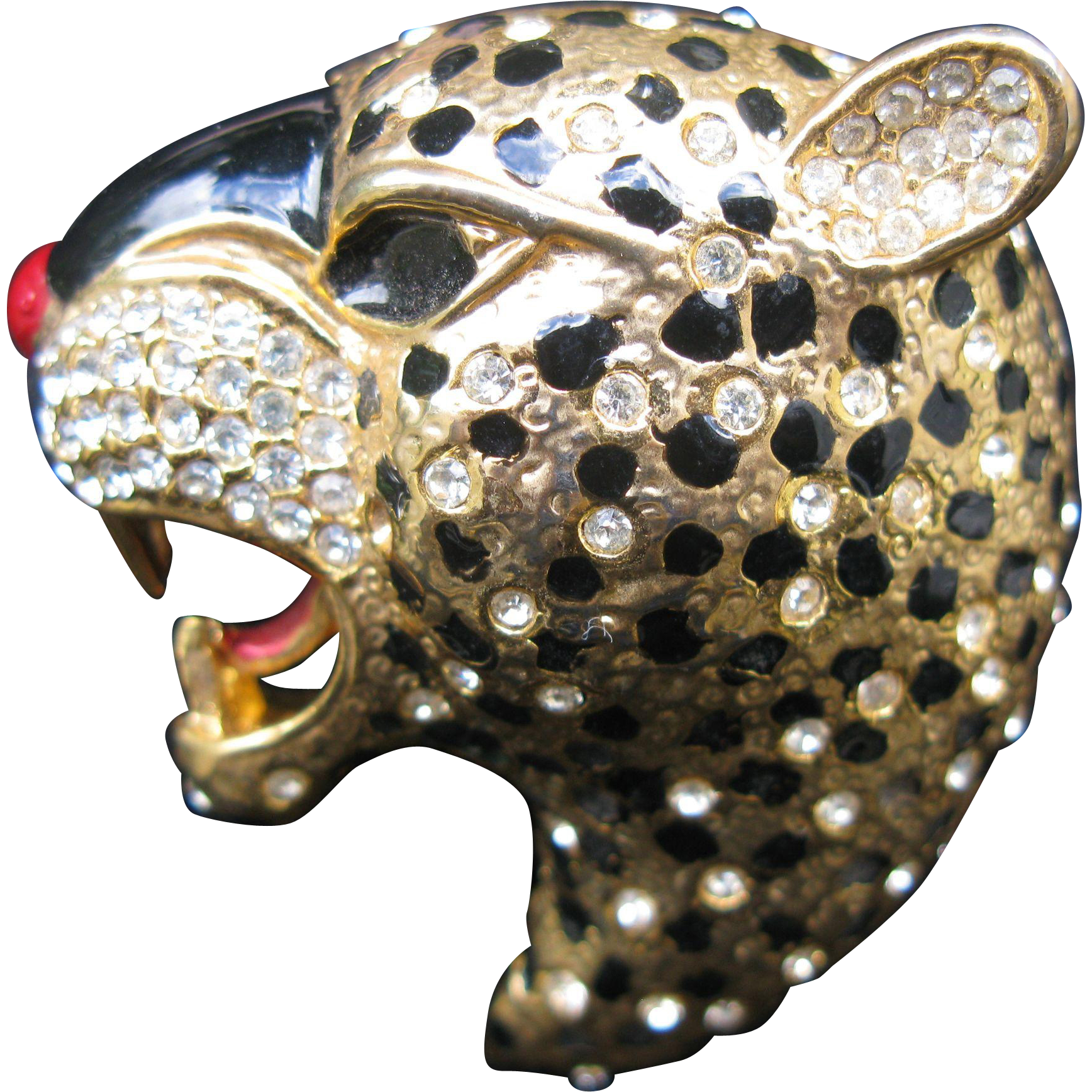 Amazing Designer Quality Figural Leopard Brooch Rhinestone Studded