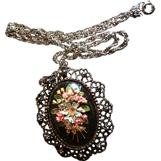 Vintage Brooch and Pendant Necklace with Real Flowers