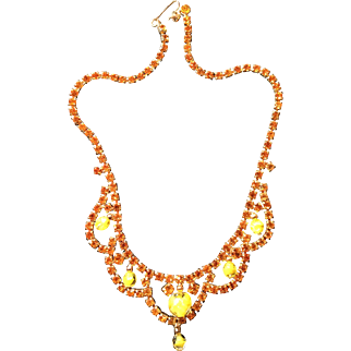 Golden Amber Rhinestone and Yellow Glass Bead Necklace
