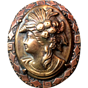 Stamped Brass Copper Cameo Greek Mythology C Clasp