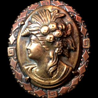 Stamped Brass Copper Cameo Greek Mythology C Clasp