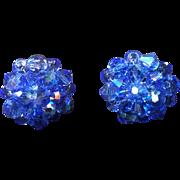 Blue Aurora Borealis Bead Clip Earrings