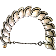 Creamy White Pearlized Lucite and Rhinestone Link Bracelet