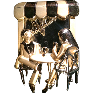 Vintage AJC Mirrored Date At the Cafe Brooch