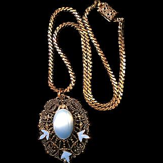 Vintage Brass Filigree Enamel and Glass Necklace