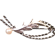 Vintage Curtis Sterling Silver and Cultured Pearl Leaf Brooch Pin