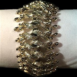 Vintage Wide Goldtone Links Bracelet