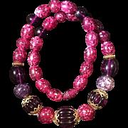 Vintage Purple Confetti Lucite Bead Necklace