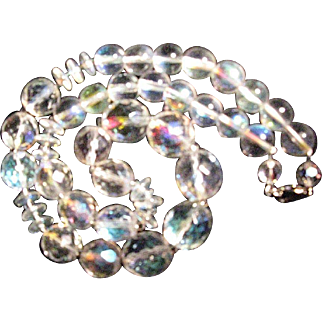 Vintage Iridescent Round and Faceted Glass Bead Necklace