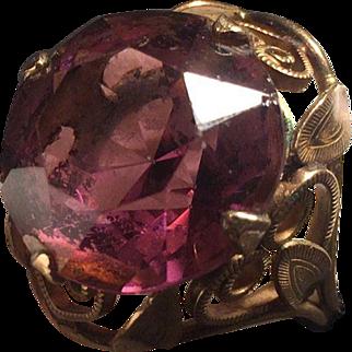 14K Gold Filled Burt Cassell Purple Glass Ring Filigree