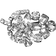 Vintage Diamante Rhinestone Leaf and Flower Brooch