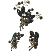 Vintage Swedged Black Glass Brooch and Earrings