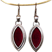 Marquise shape silver locket red velvet feminine earrings