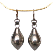 Pear shape sterling silver earring 14K gold ear wire