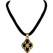 Gold plated silver flower pendant velvet couture necklace