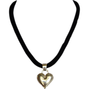 Silver heart pendant velvet necklace designer fashion jewelry