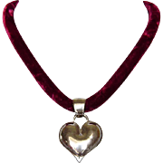 Sterling silver heart pendant velvet necklace upscale fashion jewelry design