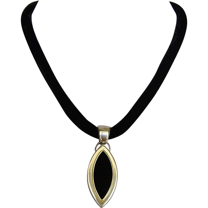 Two sided silver velvet marquise pendant black velvet couture necklace