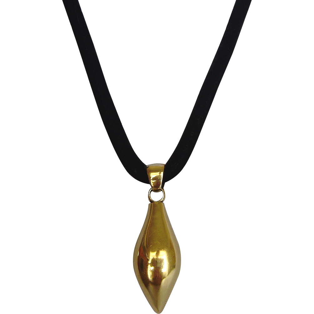 Black velvet necklace  gold plated sterling silver pear pendant romantic contemporary jewelry
