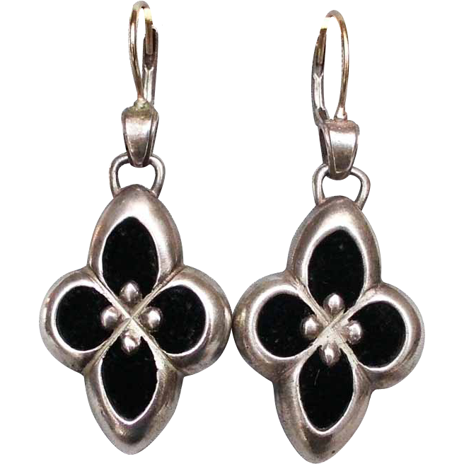 Sterling silver black velvet flower earrings 14K gold ear wire