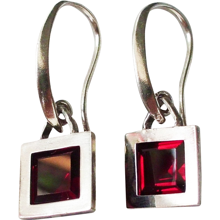 Red garnet in sterling silver frame earrings contemporary jewelry